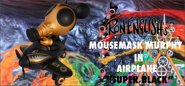 Ron English x BlackBook Toy( ��󡦥��󥰥�å���)��Mousemask Murphy in Airplane Super Black Edition