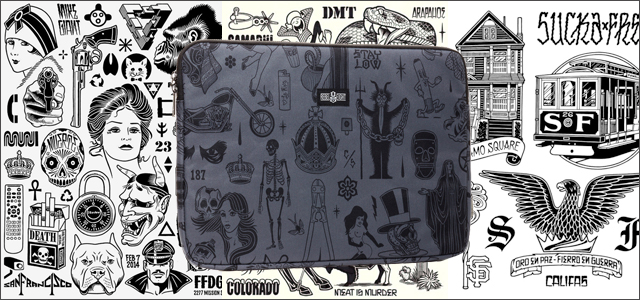 Mike Giant/REBEL8:Mike Giant Tatto Flash Laptop Sleeve