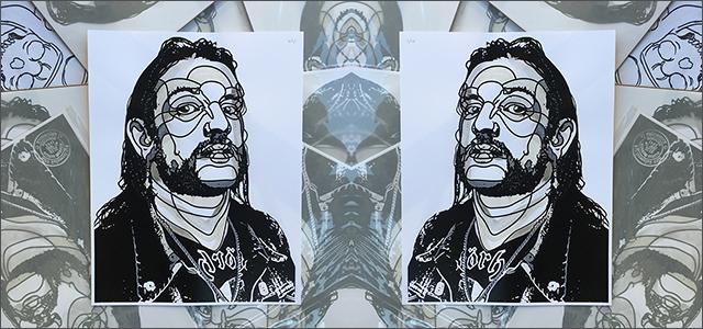 David Flores:Lemmy Hand Embellished poster