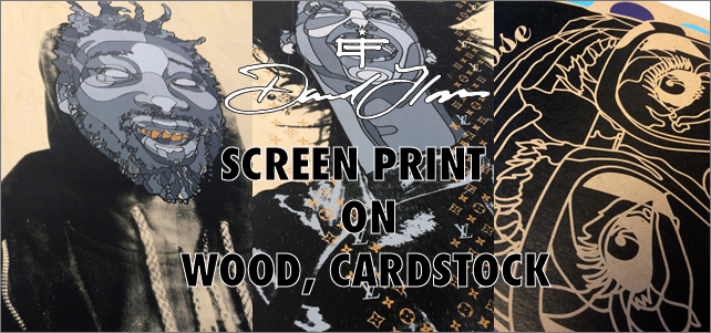 Screen print on wood,cardstock by David Flores
